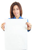 Pretty woman holding blank card ready for message. On white background Royalty Free Stock Photos