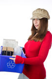 Pretty woman holding a blue box of recyclables Royalty Free Stock Photo