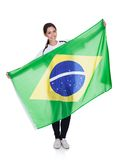 Pretty Woman Holding Brazilian Flag Royalty Free Stock Photos