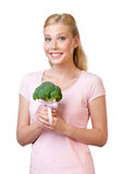 Pretty woman holding broccoli Stock Photo