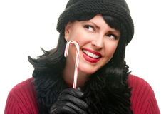 Pretty Woman Holding Candy Cane Royalty Free Stock Photography