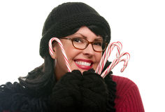 Pretty Woman Holding Candy Canes stock photo