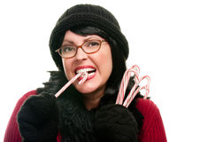 Pretty Woman Holding Candy Canes Stock Photography