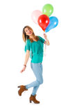 Pretty woman holding colorful balloons isolated on white background Stock Image