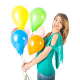 Pretty woman holding colorful balloons isolated on white background Royalty Free Stock Photos