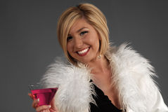 Pretty woman holding drink stock photo