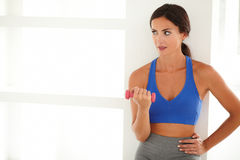 Pretty woman holding a dumbbell for weight loss Royalty Free Stock Images