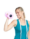 Pretty woman holding dumbbells Royalty Free Stock Photography