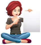 A pretty woman holding an empty board stock illustration
