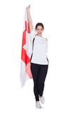 Pretty woman holding an english flag royalty free stock images