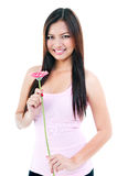 Pretty Woman Holding Flower Royalty Free Stock Image