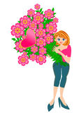 Pretty woman holding flower Royalty Free Stock Images