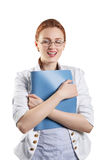 Pretty woman holding a folder Royalty Free Stock Photos