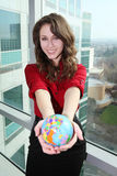 Pretty Woman Holding Globe royalty free stock images