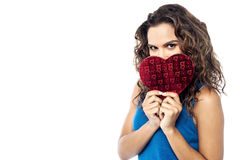 Pretty woman  holding heart shape gift box Stock Photo