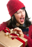 Pretty Woman Holding Holiday Gift Stock Photography