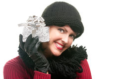 Pretty Woman Holding Holiday Gift Royalty Free Stock Photo