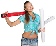 Pretty woman holding paper scrolls and red Royalty Free Stock Photo