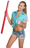 Pretty woman holding paper scrolls and red Royalty Free Stock Image
