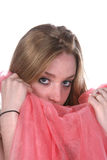 Pretty woman holding pink scarf Royalty Free Stock Photo