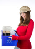 Pretty woman holding a recycling blue box Royalty Free Stock Image