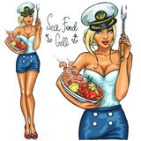 Pretty woman holding Seafood Plate Royalty Free Stock Photography