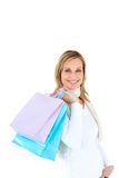 Pretty woman holding shopping bags Stock Images