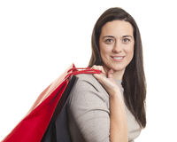 Pretty woman holding shopping bags Stock Image