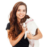Pretty Woman Holding Shy Little Dog Stock Images
