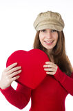 Pretty woman holding a valentines day heart Stock Photos