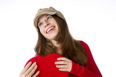 Pretty woman holding a valentines day heart Stock Image