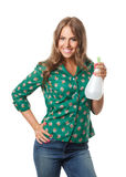 Pretty woman holding a watering spray bottle Stock Image