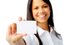 Pretty woman holds card Royalty Free Stock Image