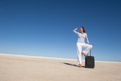 Pretty woman on holiday waiting lonely Royalty Free Stock Images