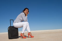 Pretty woman on holiday waiting lonely Royalty Free Stock Photo