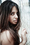 Pretty woman holidng metal-wire Royalty Free Stock Image