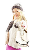 Pretty woman with ice skating winter sport activit Royalty Free Stock Image