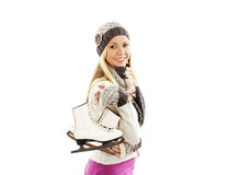 Pretty woman with ice skating winter sport activit. Pretty woman ice skating winter sport activity in cap smiling facial close-up. Isolated on white background Royalty Free Stock Photography
