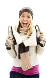 Pretty woman with ice skating winter sport activity. Pretty woman ice skating winter sport activity in cap smiling facial close-up. Isolated on a white Royalty Free Stock Photo