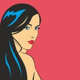Pretty woman illustration. Black hair woman with red lips on pink background royalty free illustration