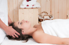 Pretty Woman In A Massage Center With Towel Royalty Free Stock Images