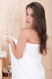 Pretty Woman In A Massage Center With Towel Stock Images