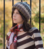 Pretty Woman In Hat And Scarf Royalty Free Stock Image