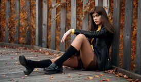 Free Pretty Woman In The Autumn Park. Outdoors Portrait Royalty Free Stock Photo - 199023085