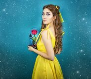 Free Pretty Woman In The Yellow Long Dress Closeup With Red Rose In Her Hands. Beauty And The Beast Cosplay Art Processing Royalty Free Stock Photography - 179777567
