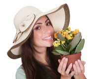 Pretty Woman Inhaling Fragrance Of Fresh Flower Stock Photos