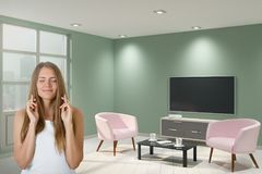 Pretty woman in interior Stock Photos