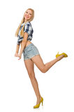 Pretty woman in jeans shorts isolated on white Stock Image