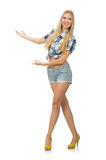 The pretty woman in jeans shorts isolated on white Stock Photo
