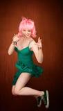 Pretty woman jumping Royalty Free Stock Photo